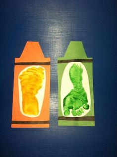 Baby footprint crayons!