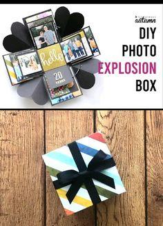 An Explosion Box Is A Cool Diy Gift That's Cheap ; eine explosionsbox ist ein cooles geschenk, das billig ist An Explosion Box Is A Cool Diy Gift That's Cheap ; Pot Mason Diy, Mason Jar Crafts, Mason Jars, Diy Gift Box, Gift Boxes, Exploding Boxes, Diy Gifts For Boyfriend, Present Boyfriend, Christmas Presents For Boyfriend
