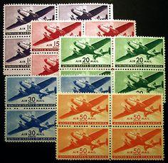 #C27-C31 10c-50c Air Post Blocks of 4 Set VF MLH 5 items