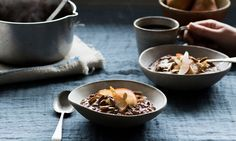Anna Jones recipes: There's more to porridge than plain old oats, and you're missing out if that's all you eat for breakfast. Apples and maple butter, or a chocolate and pear combo, are guaranteed to sweeten the day. Who cares if that upsets tradition?