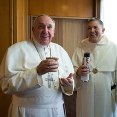 """Francis drinking a tipical argentine """"mate"""""""