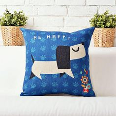 "$15 | Dog Decorative Throw Pillow Cover | 45x45cm 18""x18"" #homedecor #throwpillows #pillowcover #nurserydecor #dogpillow #doglovers"