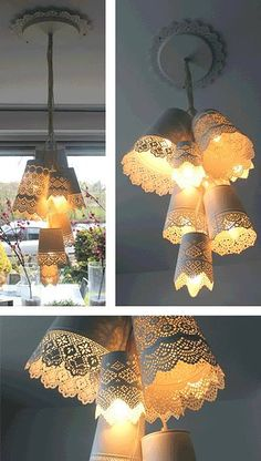 Hanging pendant bundle from IKEA flower pots... love the lacy look of this!