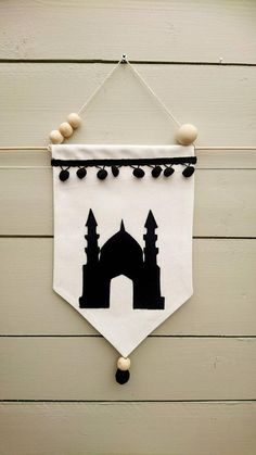 Islamic wall hanging, mosque banner, mosque, fabric banner - Canvas fabric banner with black felt mosque and pompom trim. Could be used as qiblah director or to - Ramadan Day, Ramadan Crafts, Ramadan Decorations, Festival Decorations, Paper Crafts For Kids, Fun Crafts, Diy And Crafts, Islam For Kids, Wall Hanging Crafts