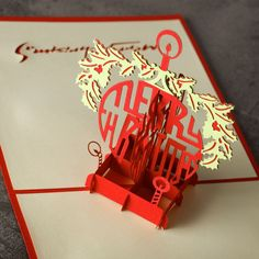 1 pc  HOMESTIA Cross Red Merry Christmas Card Laser Cut 3D Paper Folding Greeting Cards Souvenir Postcards for Parents Friends