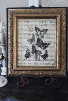 Recycle music as Art. This would be pretty with rubber stamps on sheet music.