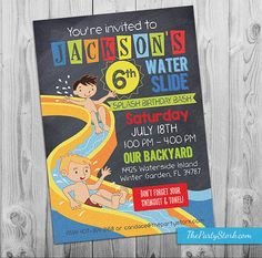Water Slide Party Invitation   Printable Birthday Invite for Boy Summer Pool Party   Waterslide Pool Party Chalkboard Style Invitations