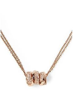 Michael Kors Brilliance Three Ring Double Chain Necklace | Piperlime