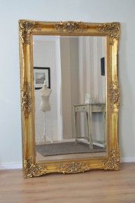 Large Gold Wall Mirror large antique shabby chic gold ornate wall mirror 6ft x 3ft, 178cm