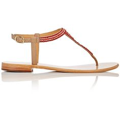 Barneys New York Women's Beaded Leather T-Strap Sandals ($175) ❤ liked on Polyvore featuring shoes, sandals, buckle sandals, buckle flats, flats sandals, embellished flats and beaded flats
