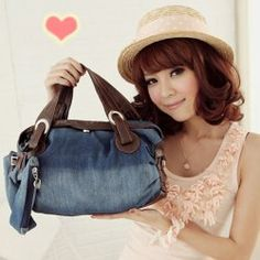 $10.46 Casual Trendy Women's Tote Bag With Splicing and Jeans Design