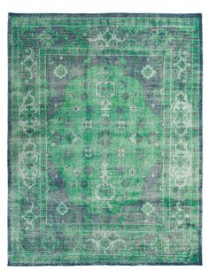 Brilliant emerald and sturdy grey combine to create a wordly rug, regal and yet sweetly charming.