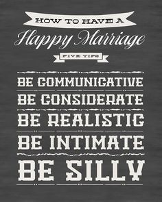 In which I share the short version of the post I wrote about tips for a happy marriage. Print it out, give it to your spouse. A great anniversary gift.