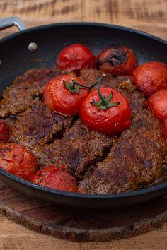 Persian Pan Kebab - Kabab Tabei - I got it from my Maman Kabob Recipes, Meat Recipes, Cooking Recipes, Healthy Recipes, Persian Kabob Recipe, Persian Recipes, Iran Food, Iranian Cuisine, Indian Dessert Recipes