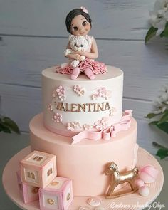 Baby girl by Couture cakes by Olga 1st Birthday Cake For Girls, Pink Birthday Cakes, Beautiful Birthday Cakes, Birthday Cake Designs, Happy Birthday Baby Girl, Cake Designs For Girl, Bolo Barbie, Baby Girl Cakes, Couture Cakes