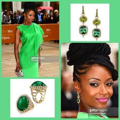We are #green with envy as actress/model @theyayadacosta stuns at the American Ballet Theatre gala in Erica Courtney's Emerald Easter Egg ring and our Tourmaline&Peridot earrings!  Match made in jewelry heaven . Don't forget to check her out in her new series #ChicaGoMed on #NBC this fall!!! #love #EricaCourtney #dropdeadgorgeous #jewels #peridot #tourmaline #emerald #AmericanBalletTheatre #gala #ANTM #actress #model #InstaSize