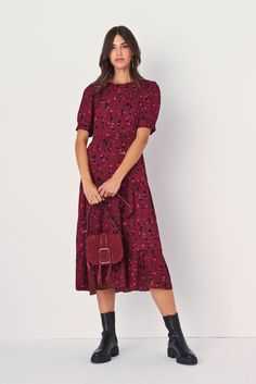 Winter Dresses, Day Dresses, Midi Dresses, Bordeaux, Bash, Fitted Midi Dress, Robes Midi, Flattering Dresses, Flare Skirt