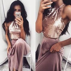 Sexy Two Pieces Shinny Sequin Long A-line Halter Prom Dress, PD0214