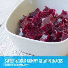 """Easy Recipe: Sweet & Sour Gummy Gelatin Snacks    Are you hearing this? A gummy """"candy"""" that's healthy – and can even help heal your gut and repair connective tissue throughout your body. #balancedbites #gummies #gelatin #gelatinsnacks"""