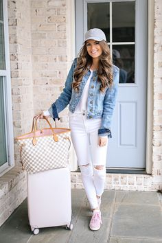 similar grey hat // Brandy Melville sweater (old), similar here // jean jacket white pants // Adidas Gazelle shoes // Ra...