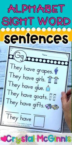 Alphabet Sight Word Sentences for Kindergarten
