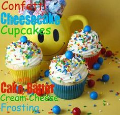 Confetti cheesecake cupcakes with cake batter cream cheese frosting...I don't know, maybe