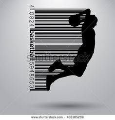 Basketball player in a barcode style. Background and text on a separate layer, color can be changed in one click Barcode Art, Barcode Design, Logo Design, Graphic Design, Smile Wallpaper, Sign Board Design, Basketball Posters, Poster Pictures, Typography Art