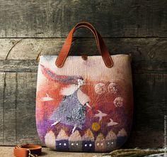 """Купить Авторская валяная сумка """"Ангел закатный и одуванчики"""" - валяная сумка, войлочная сумка"""