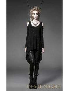 Black Off-the-Shoulder Long Sleeves Gothic Punk T-Shirt for Women