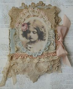 Mixed Media Fabric Collage Book of Paris Belles and Roses - beautiful Shabby Chic Crafts, Vintage Crafts, Vintage Books, Vintage Journals, Vintage Lace, Collage Book, Book Art, Altered Books, Altered Art