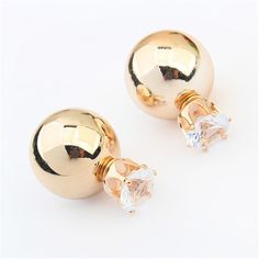 European Brand Jewelry New Fashion Gold Silver Plated Two Side Double Ball Pearls Stud Earrings For Women -  http://mixre.com/european-brand-jewelry-new-fashion-gold-silver-plated-two-side-double-ball-pearls-stud-earrings-for-women/  #StudEarrings