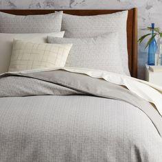 Mid-Century Organic Crosshatch Jacquard Duvet Cover + Pillowcases