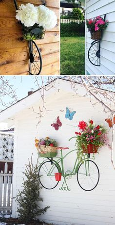 Transform a recycled bicycle and a bicycle wheel into a stand for wall flower pots. wand, Awesome Ways to Display Your Planters on The Wall Garden Crafts, Diy Garden Decor, Garden Projects, Garden Ideas, Flower Wall, Flower Pots, Wall Flowers, Des Fleurs Pour Algernon, Bicycle Decor
