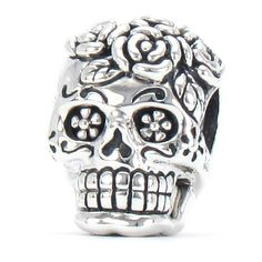 The Original Bella Fascini Dia De Los Muertos - Day Of The Dead Decorated Rose Skull / Sugar Skull - 925 Sterling Silver European Charm Bracelet Bead Fits Pandora & Compatible Brand Bracelets