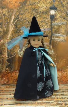 Spider Witch Costume for AG dolls with Cape & Hatl by CupcakeCutiePie on Etsy $68.00