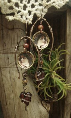 Unique Jewelry & Art Journals, Mixed Media & Assemblage by AlteredAlchemy Funky Jewelry, Copper Jewelry, Wire Jewelry, Jewelry Crafts, Jewelry Art, Jewelery, Jewelry Design, Unique Jewelry, Spoon Jewelry