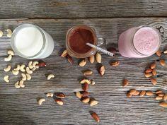 Nut Milk, three ways {strawberry, vanilla cashew, cocoa brazil} - Nutrition Stripped Nut Milk Recipe, Milk Recipes, Raw Food Recipes, Healthy Recipes, Smoothies With Almond Milk, Vegan Smoothies, Milk Smoothies, Almond Butter Cookies, Nut Milk Bag