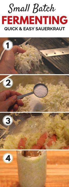 Quick & easy tips for making fermented foods like sauerkraut... looks so easy!