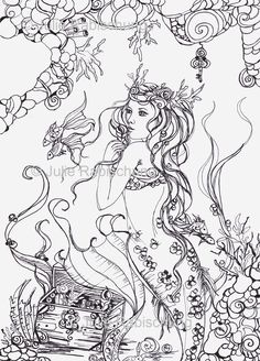 mermaid- coloring page- adult coloring- mermaid coloring page- lineart- coloring book- download- scrapbooking- digital stamp- card making by fantasyartandcrafts on Etsy