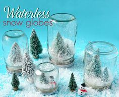 Waterless snow globe. These would be great to do with kids or for them. Easy to make. The teacher in me says they would make a great holiday present for parents that even kindergarten students could make! (except the hot glue gun part…) Also nice to think of cold weather things when it's triple digits outside! | best stuff
