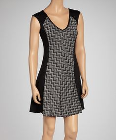 Take a look at this Black & Ivory Zigzag Panel Cap-Sleeve Dress by Paperdoll on #zulily today!
