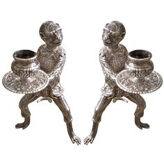 Pair of American Tiffany Sterling Silver Monkey Candlesticks | From a unique collection of antique and modern sterling silver at