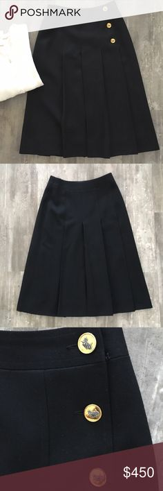 """Vintage Celine Black Pleated Wool 3-Button Skirt Absolutely stunning, timeless piece. The ultimate in closet staples.  Celine black wool Pleated skirt, hard to find wth the 3 button horse and carriage side closure. Interior label has come unstitched due to age on one side and can easily be stitched back on. Pair with a sweater set (Vtg Brooks Brothers set not for sale). Fully lined. Waist measures 13.5"""" across, length measures 27.5"""", an absolute rare gem. Size 40 is a US 8 but vintage runs…"""