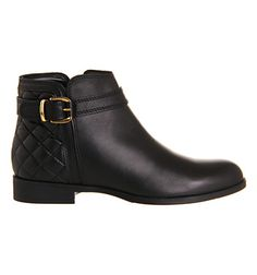 Office Copper Smart Buckle Ankle Boot Black Leather Quilt - Ankle Boots