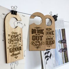 """""""Don't leave us hanging"""" is a project of door hangers that comes from another more ambitious, traveling around the world for a year.  https://www.facebook.com/dontleaveushanging http://www.aroundtheworld.pt"""