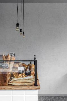 """Przystanek Piekarnia"" Bakery, Śródmieście, Warszawa, 2016 - Five Cell Cafe Restaurant, Restaurant Design, Bakery Interior, Interior Design, Blackboard Paint, Plywood Panels, Retail Concepts, Pastry Shop, Blackboards"