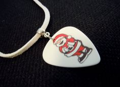 Santa Claus Guitar Pick and White Suede Cord Necklace by ItsYourPick on Etsy