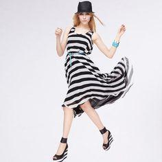 NEONICE Striped Chiffon Big Swing Dress Black NH05H Date Night Dresses, Dream Dress, Swing Dress, Casual Dresses For Women, Night Out, Chiffon, Style Inspiration, Dress Black, Lady