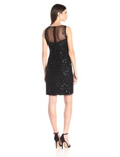 27c8a105093e Pisarro Nights Womens Short Mesh Front Dress with Beaded Sequin Black 4 >>>  You can find more details by visiting the image link.