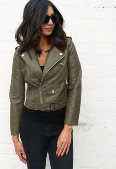 Leather Look Belted Biker Jacket with Zips in Khaki Green - One Nation Clothing - One Nation Clothing - 1